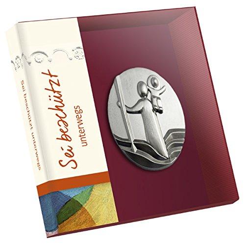 Christophorus Medaille silber farben - Sei behütet unterwegs - Schutzheiliger als Auto-Plakette in einer hübschen Geschenkschachtel.