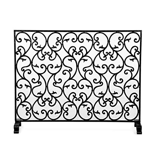Spark Guard Fireplace Screen with Metal Mesh, Large Fire Fences for Living Room, Outdoor Baby Safety Panels Wood Combustion Stove Accessories, Black