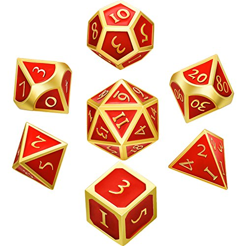 Hestya 7 Pieces Metal Dices Set DND Game Polyhedral Solid Metal D&D Dice Set with Storage Bag and Zinc Alloy with Enamel for Role Playing Game Dungeons and Dragons, Math Teaching (Gold Edge Red)