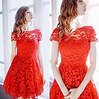 Stylish Lace Short Dress For Women Size M