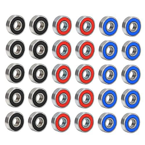 Rodamientos De Patinetas, Ruedas De Patinaje Rodillo Scooter ABEC-9 Caucho Sellado Metal Rodamiento De Repuesto para Patines Largos Patines De Cuatro Ruedas Ruedas 30pcs