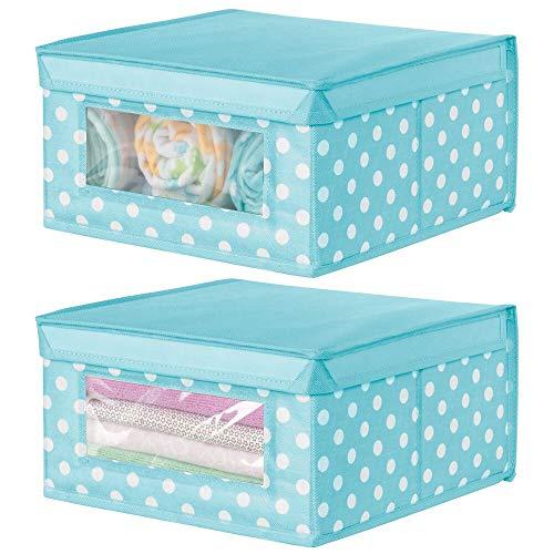 mDesign Juego de 2 cajas apilables medianas – Caja con tapa para guardar ropa de bebé o mantas – Caja para armarios con ventana transparente y diseño de puntos – azul turquesa/puntos blancos