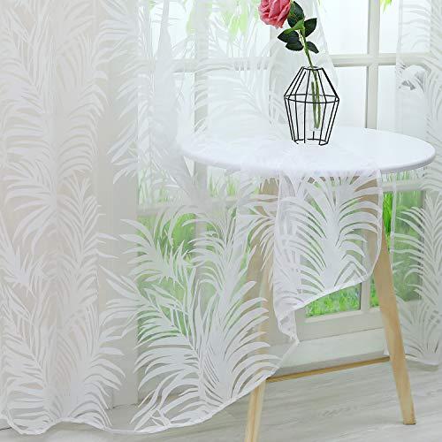 Heichkell Transparenter Vorhang »Laha« Kräuselbandschal mit floralem Ausbrenner Design Weiße Gardinen mit Kräuselband Dekoschals aus Voile BxH 140x245cm