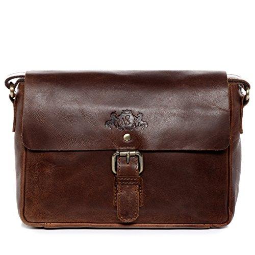 SID & VAIN® Borsa messenger vera vintage YALE piccolo borsello tracolla pollici borsa a spalla Università Scuola Ufficio uomo donna marrone