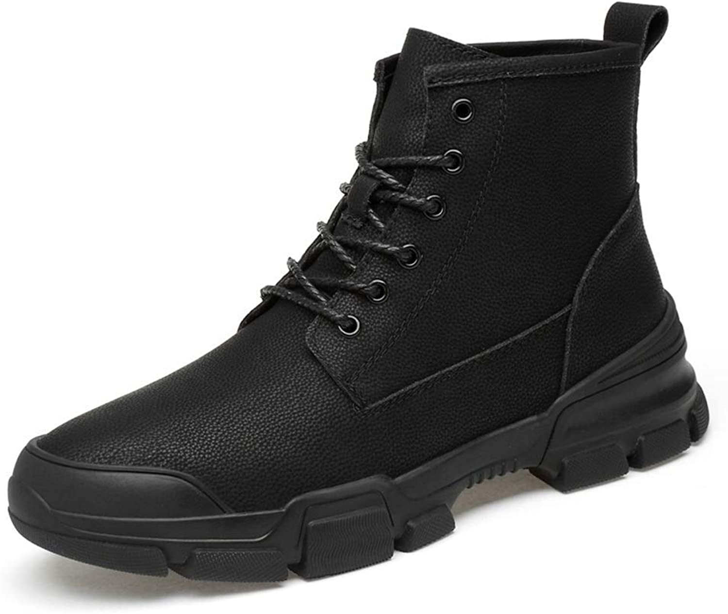 Hhgold Men's Casual British Stylefashion Ankle Boots Simple Rubber Sole Lacing Leisure Sport Boots (color  Black, Size  37 EU) (color   Black, Size   47 EU)