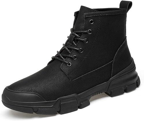 Herren Casual British Stylefashion Stiefeletten Einfache Gummisohle Schnürung Freizeit Sport Stiefel (Farbe   Schwarz Größe   37 EU) (Farbe   Schwarz Größe   45 EU)