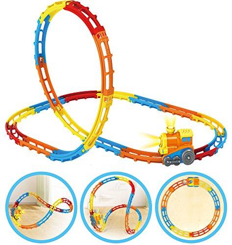 Brigamo ➰ Tumble Tracks® Eisenbahn Zug Rennbahn mit Looping, Spielbahn für Kleinkinder ➰