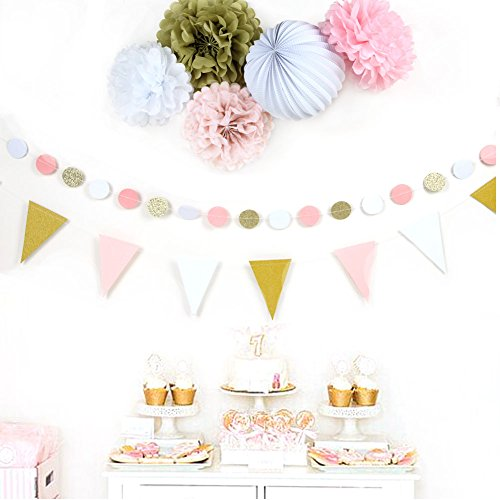 Sunbeauty, set van 7 goud, roze, wit, papieren decoratie, serie pompon, lampion, glitter, slinger, wimpel, bruiloftsdecoratie, ceremonie, decoratie