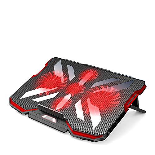 Xbd Refrigerador portátil,Base de Refrigeración para Ordenador Portátil,con 5 Ventiladores silenciosos y 2 Puertos USB,Rack de refrigeración portátil,con Luces LED,para portátiles de 12-17 Pulgadas