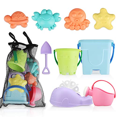 TOY Life Sand Toys for Kids - 9 Beach Toys Includes Sand Bucket Shovel and Sand Castle Toys for Beach - Sandbox Toys Set with Carrying Waterproof Net