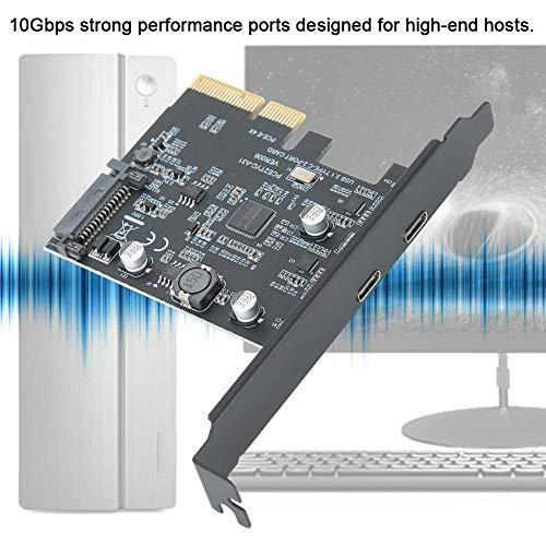 BEYIMEI PCI-Express 4X zu USB 3.1 Gen 2 (10 Gbit/s) 2-Port-Erweiterungskarte Typ C Asmedia-Chipsatz, integrierte SATA15PIN-Netzteilschnittstelle, für Windows 7/8/10 /Linux/MAC OS 10.14 (2-Port Typ-C)