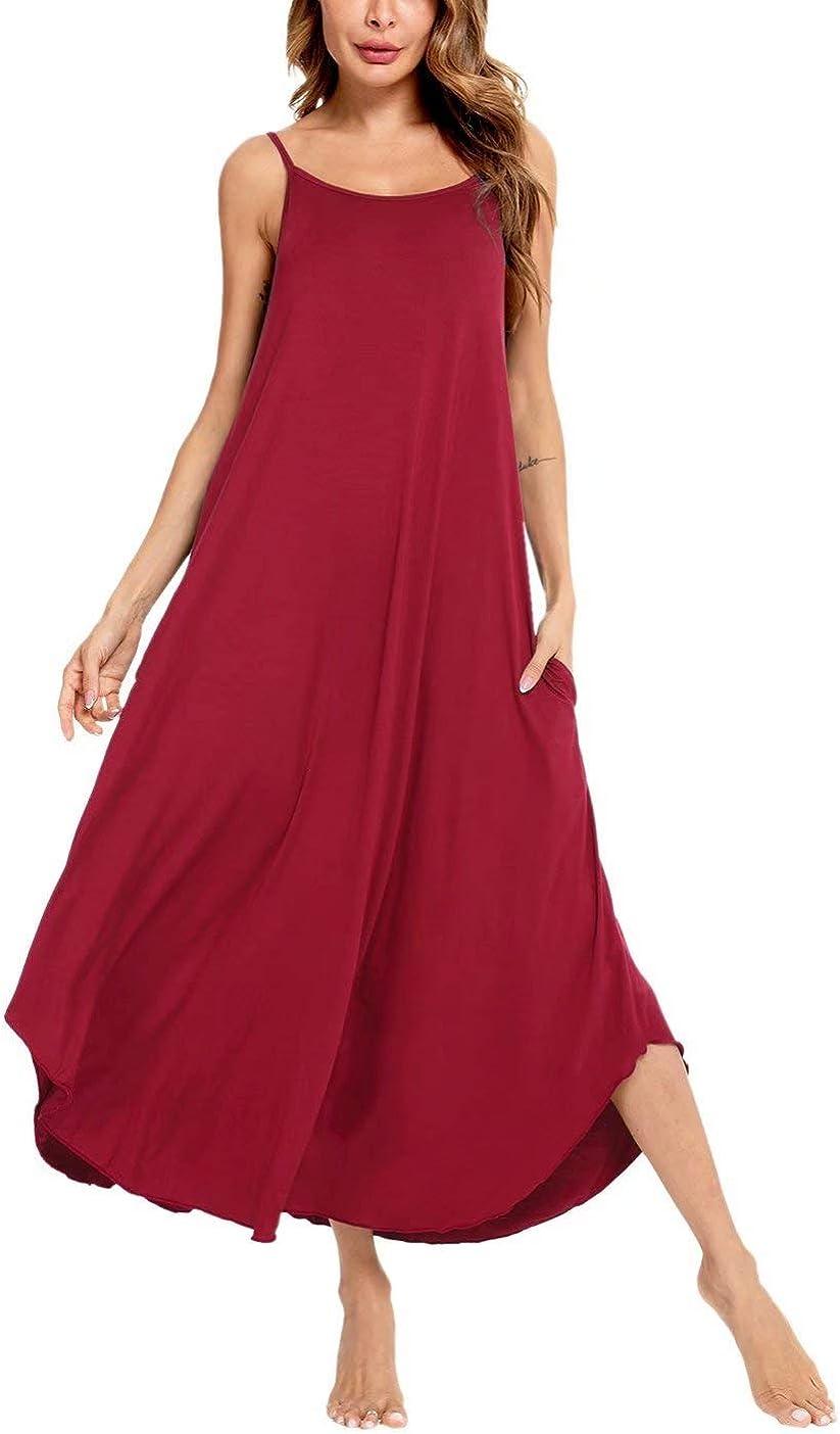 SWOMOG Women's Sleeveless Long Nightgown Soft Sleepwear Strap Nightshirt Lounge Dress with Pockets