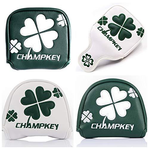 ゴルフヘッドカバー パターカバー マグネット付け マレット用 オデッセイ2ボール・テーラーメイド スパイダーパターに対応 クローバー模様 (方形 緑)