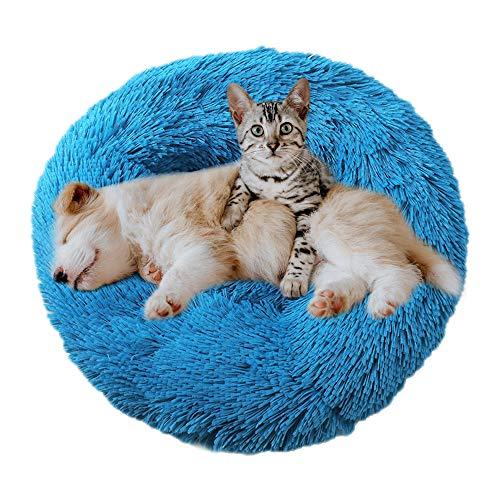 Eastlion Cama Perro Deluxe Felpa Redonda,Plush Cama Calmante Donut Gato Suave Cómoda,Nido Calentito Cojín Lavable para Mascotas Pequeña Gatos y Perros(Azul-Diámetro:50 CM)