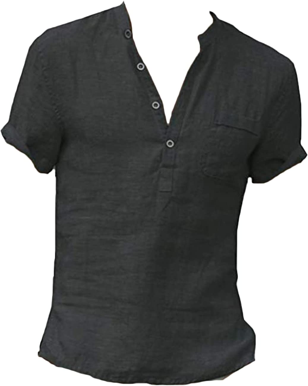 Men's Cotton Linen Henley Shirts Max 79% OFF Short Sh T Summer Sleeve Casual Selling