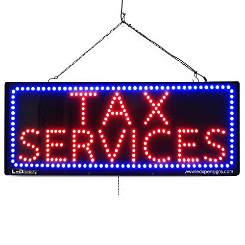 """""""Tax Services"""" LED Business Sign - Extra Bright LEDs, Can Be Seen Through Tinted Windows. Large 32 inches Wide (#2639)"""