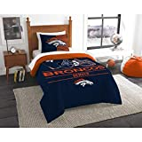 MS 2pc NFL Broncos Comforter Twin Set, Team Logo Fan Merchandise Athletic Team Spirit Fan, Unisex, Blue Orange Football Themed Bedding Sports Patterned, Polyester