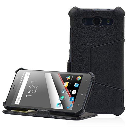 PHICOMM Clue L Hülle | Smartphone Hülle mit Easy Stand | Tasche Echtleder in schwarz | Kartenfach
