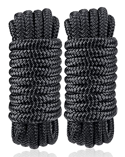 """Dock Lines & Ropes Boat Accessories - 3/8"""" x 15' Double Braided Nylon Dock Lines with 12"""" Loop, Excellent 5800 lbs Breaking Strength Marine Rope for Kayak Pontoon Boats up to 30ft, Boating Gifts"""