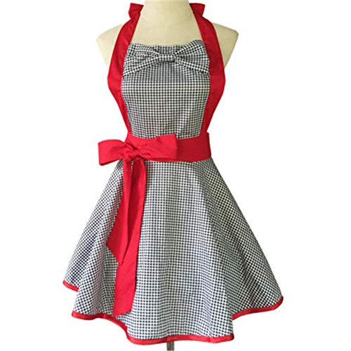 Lushi Carino cotone bianco e nero plaid panno grande fiocco lavoro grembiule cucina, Rosso, taglia unica