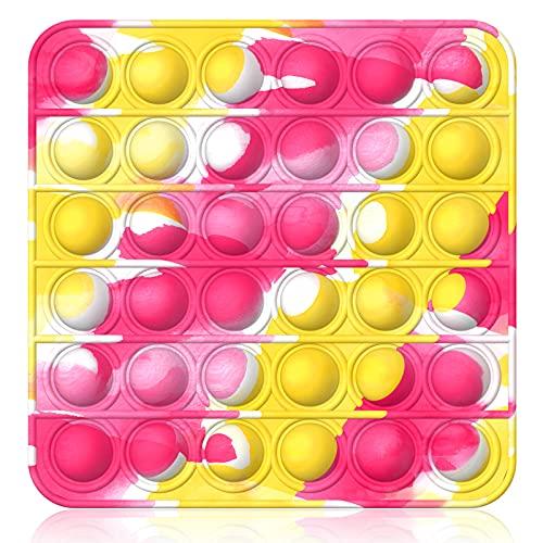 Bdwing Push and Pop Bubble Fidget Toy, Juguete Antiestres Educativo para aliviar el estrés, Necesidades Especiales silenciosas Aula para niños (Cuadrado Amarillo)