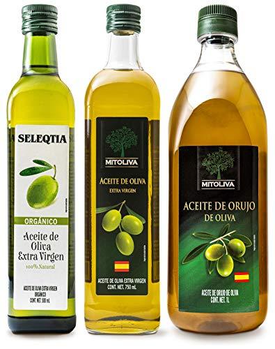 3 PACK de Aceites (Aceite de Oliva Extra Virgen de 750 ml MITOLIVA, Aceite de Orujo de Oliva de 1 L MITOLIVA y Aceite de Oliva Extra Virgen Organico de 500 ml SELEQTIA)