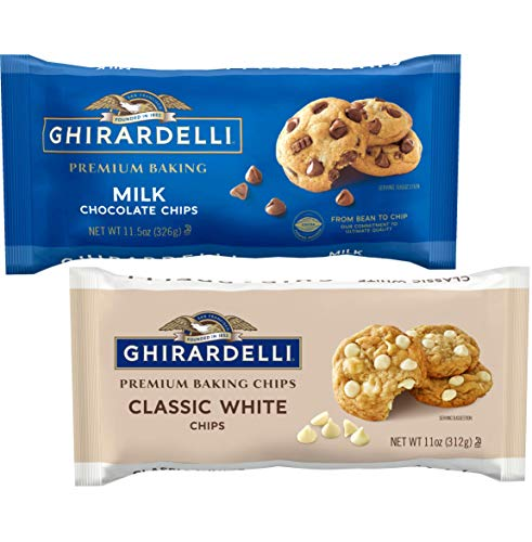 Ghirardelli Premium Baking Chips Bundle | Includes One Each of Milk Chocolate Chips, 11.5 oz and Classic White Chocolate Chips, 11 oz