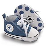 ENERCAKE Baby Boys Girls Shoes Toddler High-Top Ankle Canvas Infant Sneakers Soft Sole Newborn First Walkers Crib Shoes( 0-6 Months Infant,A-Jeans