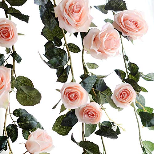 Rose Artificial Silk Rose Flower Ivy Vine Fake Hanging Artificial Flower Plant Leaves Garland Wedding Party Garden Wall Decoration (A-Pink Rose)