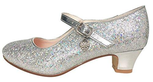 La Senorita ELSA Frozen Prinzessinnen Schuhe Silber mit kleines Herzchen Spanische Flamenco Schuhe (Größe 32 - Innenmaß 21 cm)