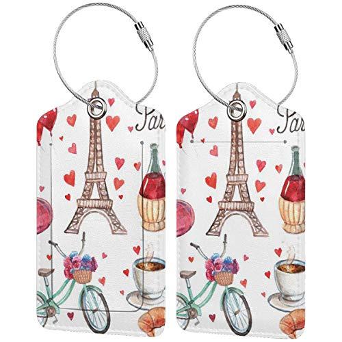 WINCAN Gepäckanhänger Kofferanhänger mit Adressschild,Paris Illustration der Herzen Eiffelturm Rotwein Kaffee Parfüm Romantik unter dem Motto,Kofferanhänger zur Identifizierung von Tasche (2 Stück)
