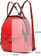Leather Backpack Women's Backpack Multifunctional Travel Fashion Student Bag,Delicate Lining Multi-purpose package (Color : Red)