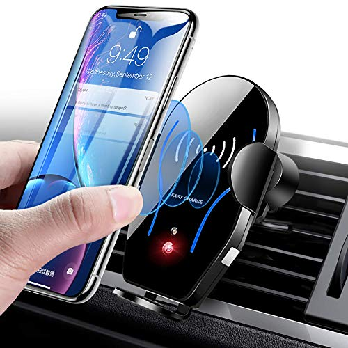 Wireless Car Charger Mount, Mikikin Auto-Clamping Qi 10W 7.5W Fast Charging Car Phone Holder Air Vent Compatible with iPhone 11/11 Pro/11 Pro Max/X/XR/Xs/Xs Max/8/8 Plus, Samsung S10/S10+/S9/S9+/S8+