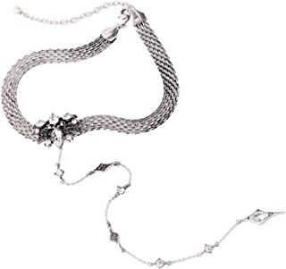 Statement Fashion Choker Necklace for Adults, Mesh Chain Choker with Crystal, Y Chain Vintage in Silver Color.