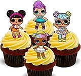 Made4You - Muñecas LOL Surprise, decoración comestible para cupcakes, obleas de pie para decoración de tartas