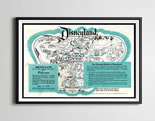 "Vintage Disney Frontierland 1955 8.5/"" x 11/"" Poster"