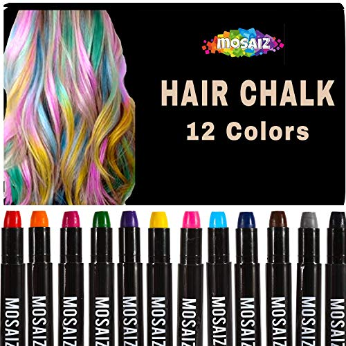 Hair Chalk for Girls and Boys 12 Colors with Black and Brown Washable Temporary Hair Color for Kids, Great Birthday Gift for Girls Age 4 5 6 7 8 9 10 11, Face Paint Party, Girl Gifts,Christmas, Spa (Fun Hair Color Ideas For Short Hair)