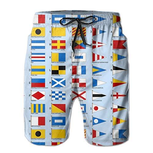 01958929 Banderas de señalización náutica_33 Pantalones Cortos para Hombres Pantalones Cortos de natación Surf Beach Holiday Party Pantalones Cortos de natación Pantalones de Playa XXL