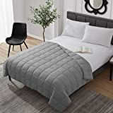 Weighted Blanket Cooling Breathable Heavy Blanket Comforter Microfiber Material with Glass Beads (20lbs 60'x80' Queen Size Bed) Big Blanket for Adult All-season Fall Winter Soft Thick Comfort Blanket
