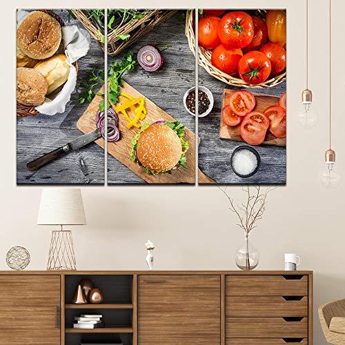 Canvas Schilderij Hamburger tomaten brood uienmes 3 Stuks Muur Schilderen Modulaire Wallpapers Poster Print Home Decor-40x80cmx3pcs geen frame