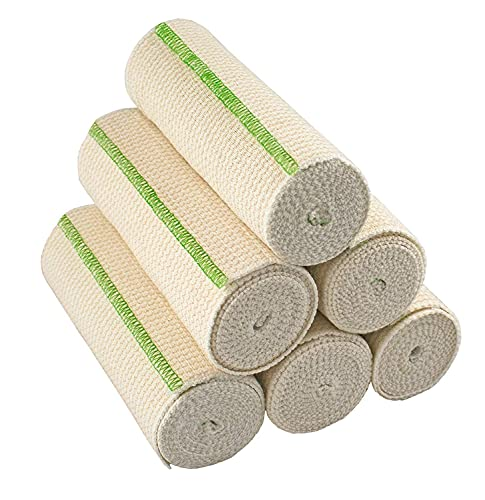 GT USA Organic Cotton Elastic Bandage Wrap (6' Wide, 6 Pack) | Hook & Loop Fasteners at Both Ends | Latex Free | Hypoallergenic Compression Roll for Sprains & Injuries