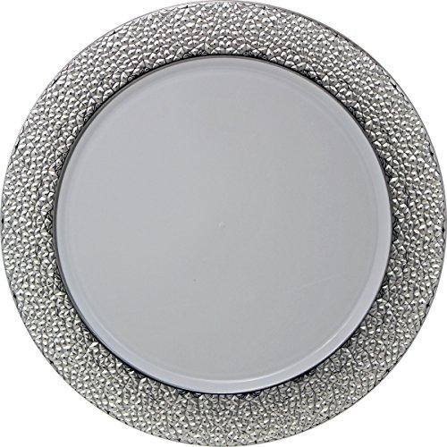 Decorline -Bajo Platos de plástico Desechables Redondos de 33 cm,Blanco con Plata,Hammered Collection,2 Piezas