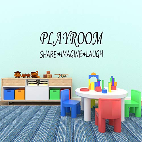 Wall Decal Quote Playroom Share Imagine Laugh Kids Room Children Parenting Toys Vinyl Sticker Home Decor