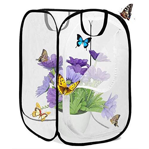 Ttdbd Insekten Habitat Käfig Faltbare wasserdichte Schmetterlingshäuser Anti-Moskito Schmetterlingshaustierzelt Pop Up Mini Transparent Gewächshaus Wachsen Haus