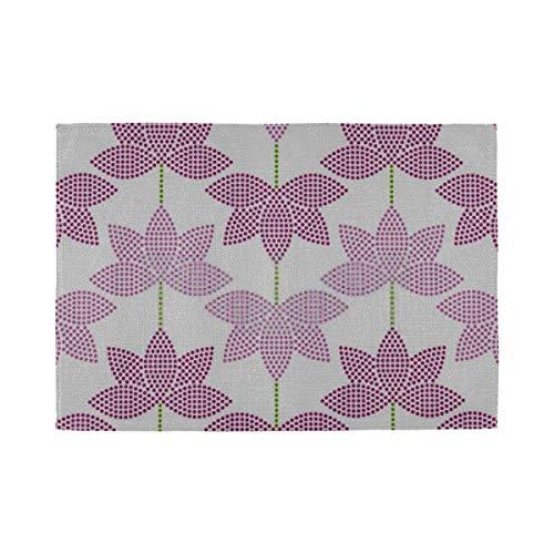 Tischsets 6er Set, wärmeisolierende waschbare Tischsets, nahtlos gefliester Mosaik-Hintergrund Pink Lotus 18 x 12 Zoll Küchentischmatten Tischset für Esstisch