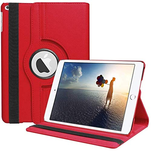 360 Rotating Case for iPad 10.2 2020/2019, Rotating Stand Protective Cover for iPad 8th Gen/iPad 7th Gen with Pencil Holder, Wallet Pocket, Hand Strap and Smart Cover for iPad 10.2 (Red)