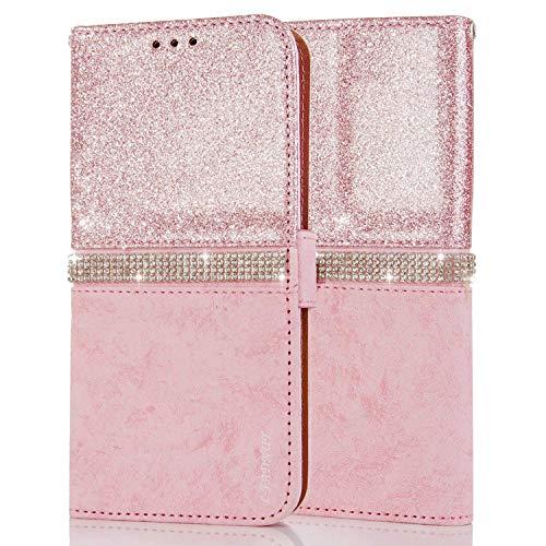 LCHULLE Kompatibel mit Samsung Galaxy A71 Schutzhülle Prima PU Leder Hülle Glitzer Kristall Handyhülle Magnetisch Silikonhülle TPU Rückschale Hülle Brieftasche Hülle Roségold