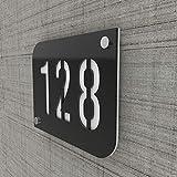 Plaque numéro de rue/maison noire design avec fond personnalisable - Modèle URBAN - Blanc - 15