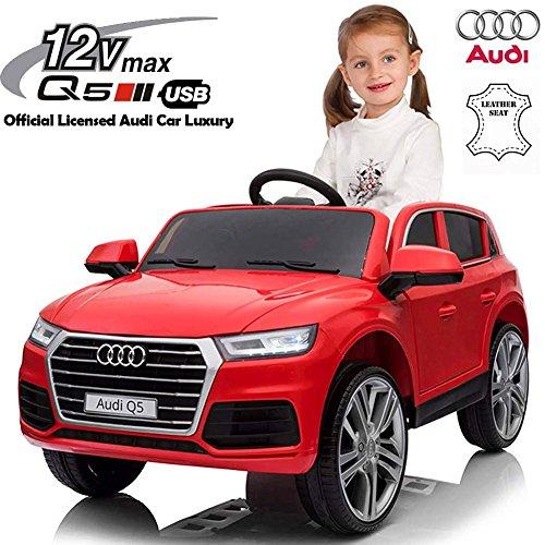 BAKAJI Auto Elettrica per Bambini Audi Q5 12 Volt con Sedile in Pelle Luxury, con Suoni Luci Fari LED Ingresso AUX Porte Apribili e con Telecomando Parentale Licenza Ufficiale Audi (Rosso)