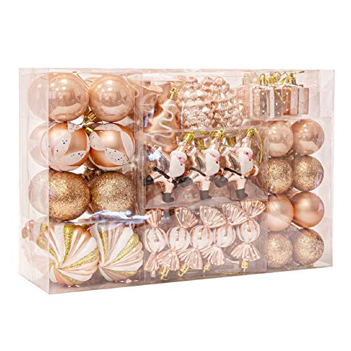 WBHome 105ct Assorted Christmas Ball Ornaments Set - Rose Gold/Pink, Shatterproof Decorations Christmas Tree Ornaments, Hooks Included